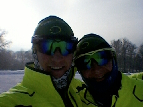 Phillip and I skiing on the race course