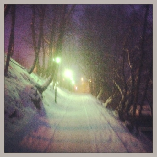 Running in the early morning in Liberec