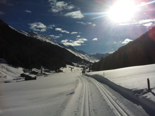 Perfect trails and sun in Davos.