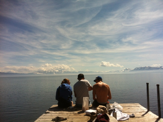 Enjoying Lake Tahoe with Lauren (L), Gus (C) and Callum (R).